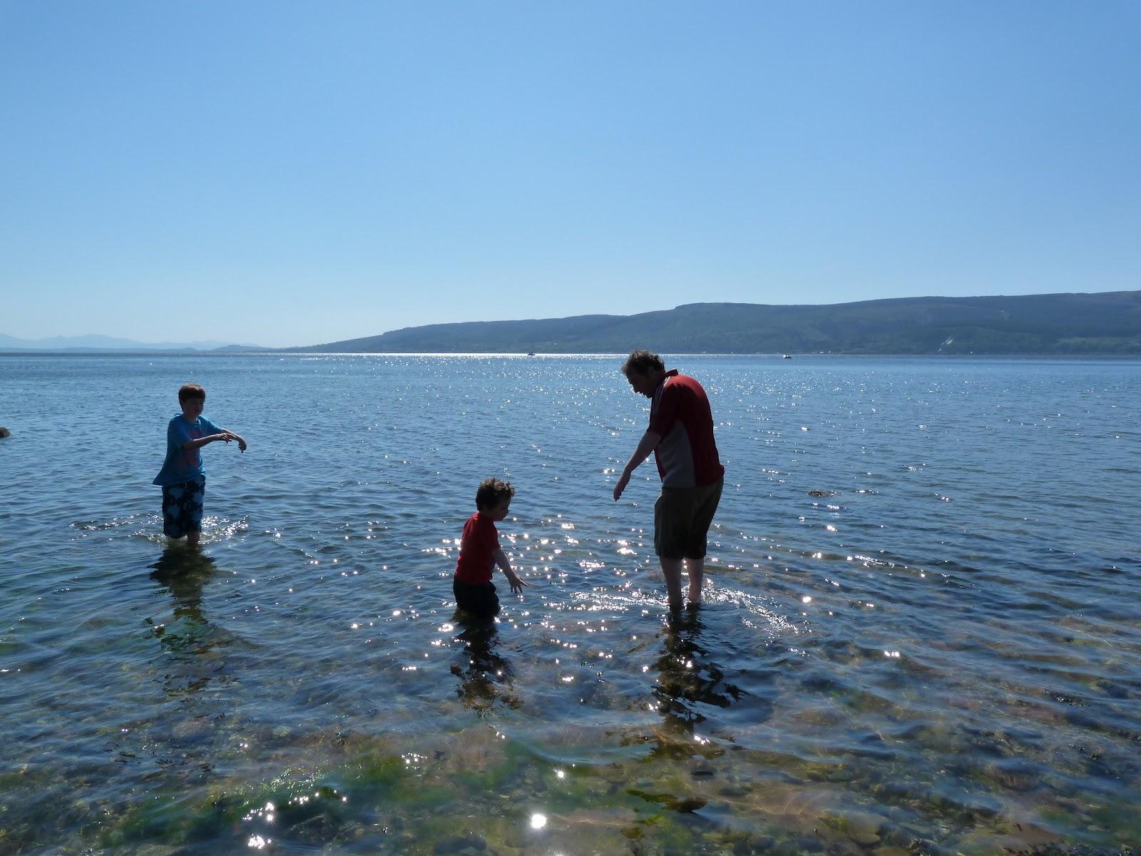 Paddling at Lunderston Bay, Gourock