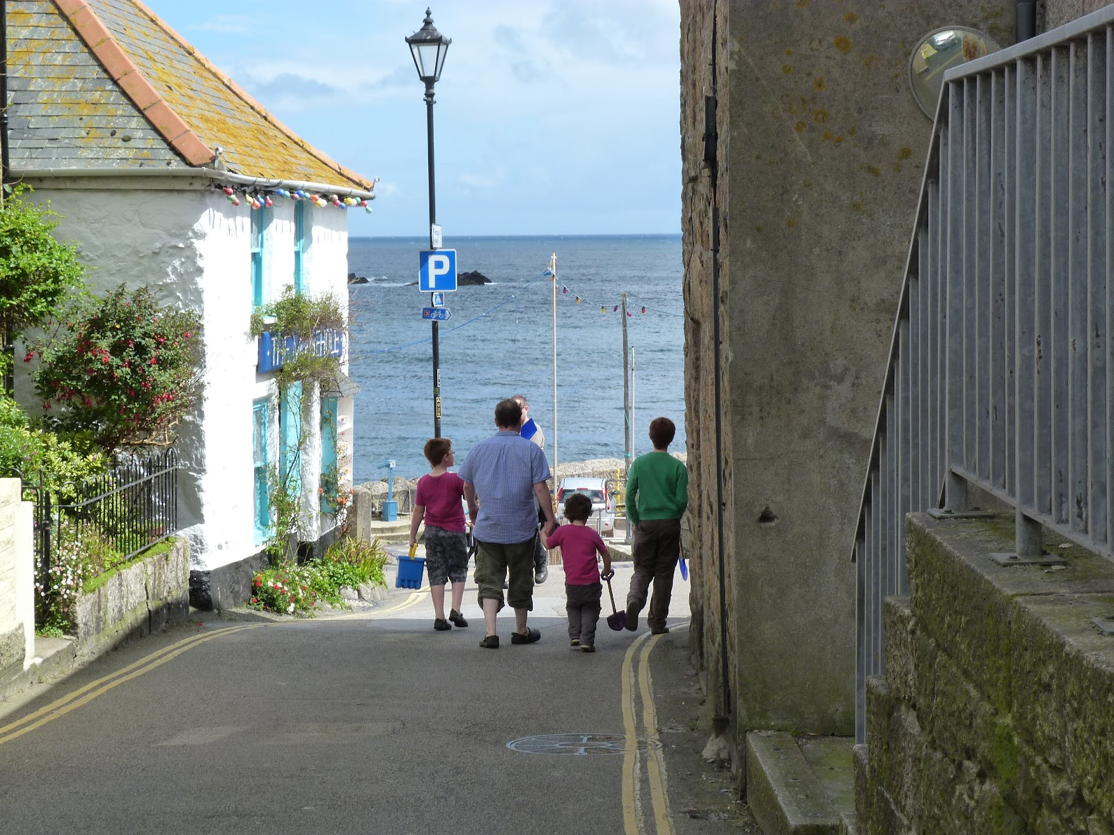 Narrow road in Cornish village